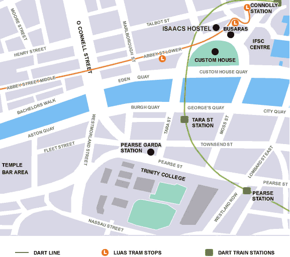 Dublin hostel map